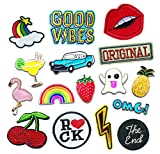PATCHES AND PINS - Set of 16 - Great for Clothes Backpacks Jeans Shirts Jackets Shoes Hats DIY Projects