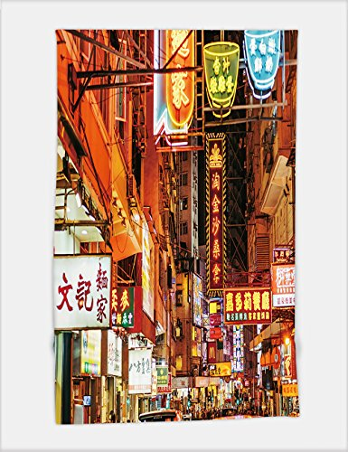 Minicoso Bath Towel Busy Street scene with neon signs in Hong Kong 503888764 For Spa Beach Pool Bath by Minicoso (Image #6)