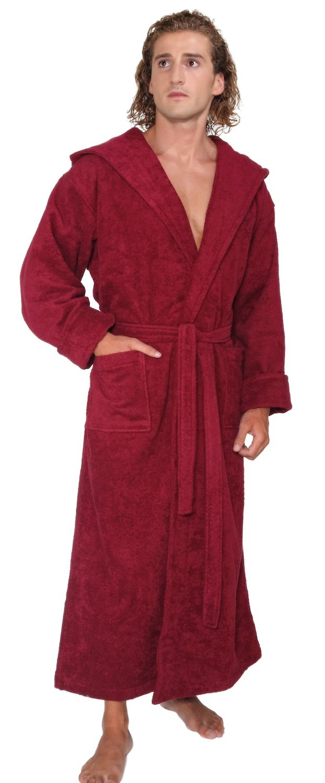 Arus Men's Hood'n Full Ankle Length Hooded Turkish Cotton Bathrobe L Burgundy