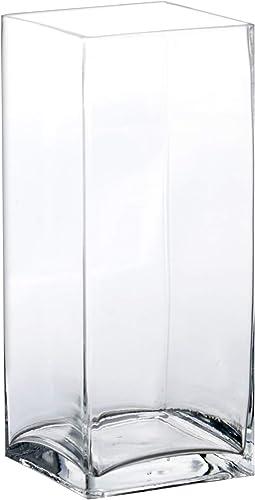CYS EXCEL Square Vase, Clear Glass. H-12, Open 4.75 x 4.75 6 pcs