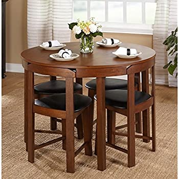 Mid Century Tobey Walnut Compact Dining Set 5 Piece In Black Faux Leather Upholstered Seats Angled Chairs Fit Seamlessly To Edge Of Table