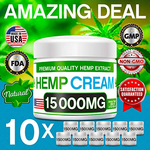 61mVYcArl%2BL - Hemp Pain Relief Cream - 15 000 MG - Natural Hemp Extract Relieves Inflammation, Knee, Muscle, Joint & Back Pain - Contains Arnica, MSM & EMU Oil - Non-GMO - Made in USA