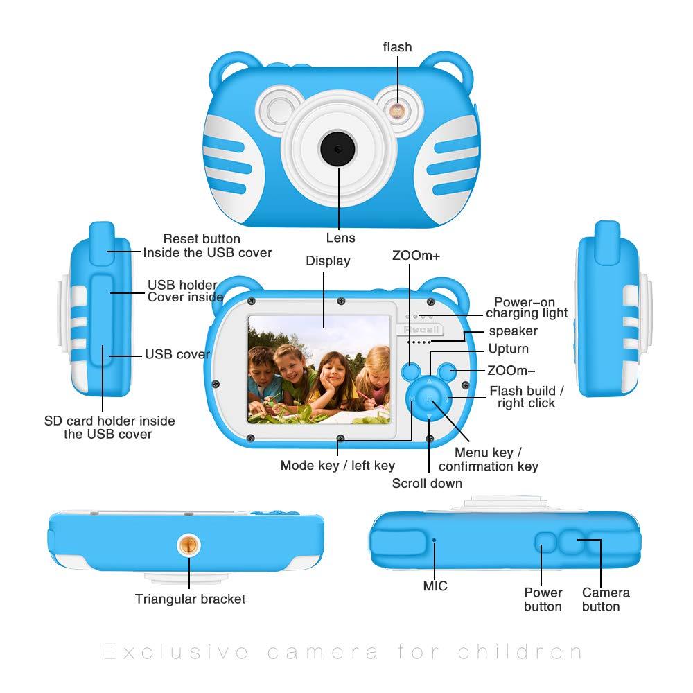 CamKing Kids Digital Camera, K3 2.7'' Screen Children's Cartoon Digital Camera, Blue by CamKing (Image #4)