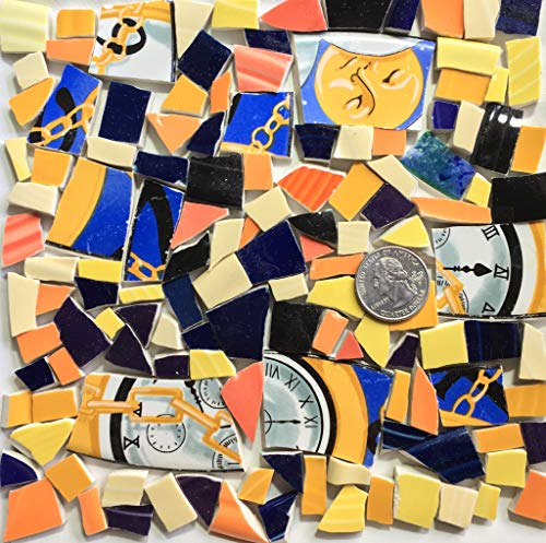 (Mosaic Art & Craft Supply ~ Blue & Yellow Clock Feature Tiles w/Tiny Fiesta Shards (B039))