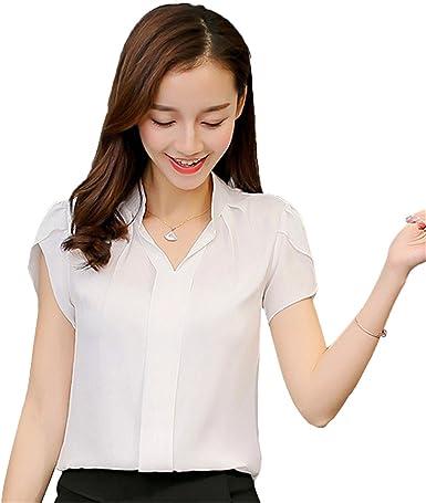 ECYC Top Blusa Gasa Verano Mujer Tops, Talla Grande S-XXXL Camiseta Manga Corta: Amazon.es: Ropa y accesorios
