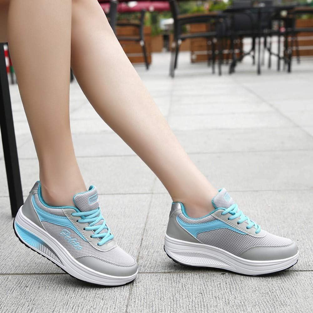 manadlian Chaussures Plateformes Fitness Basket Mode Compensées Chaussures Sport Marche Sneakers de Fond Épais pour Femme Sneakers Outdoors Jogging Outdoor Mesh Sneakers Bleu
