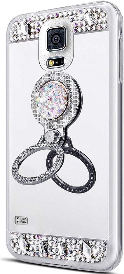 Surakey Coque Pour Samsung Galaxy S5 Miroir Housse Coque Silicone TPU Gel Paillette Diamant Strass Bling Placage Coque Etui TPU Téléphone Coque avec ...