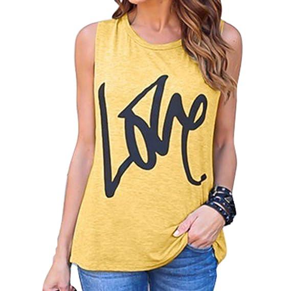 Hibote Camiseta Mujer Sin Mangas Top Suelta Blusas Cuello Redondo Love Estampada Camisa Color Contraste 8
