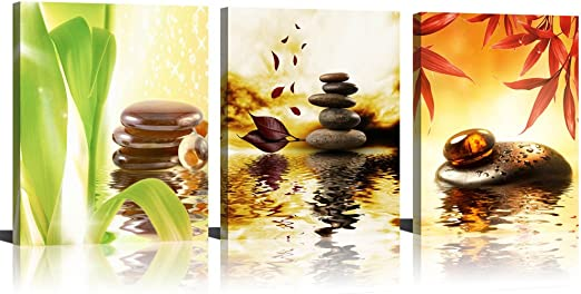 SUMGAR Black and White Wall Art Paintings on Canvas for Bathroom Zen Stone and Green Leaf Pictures