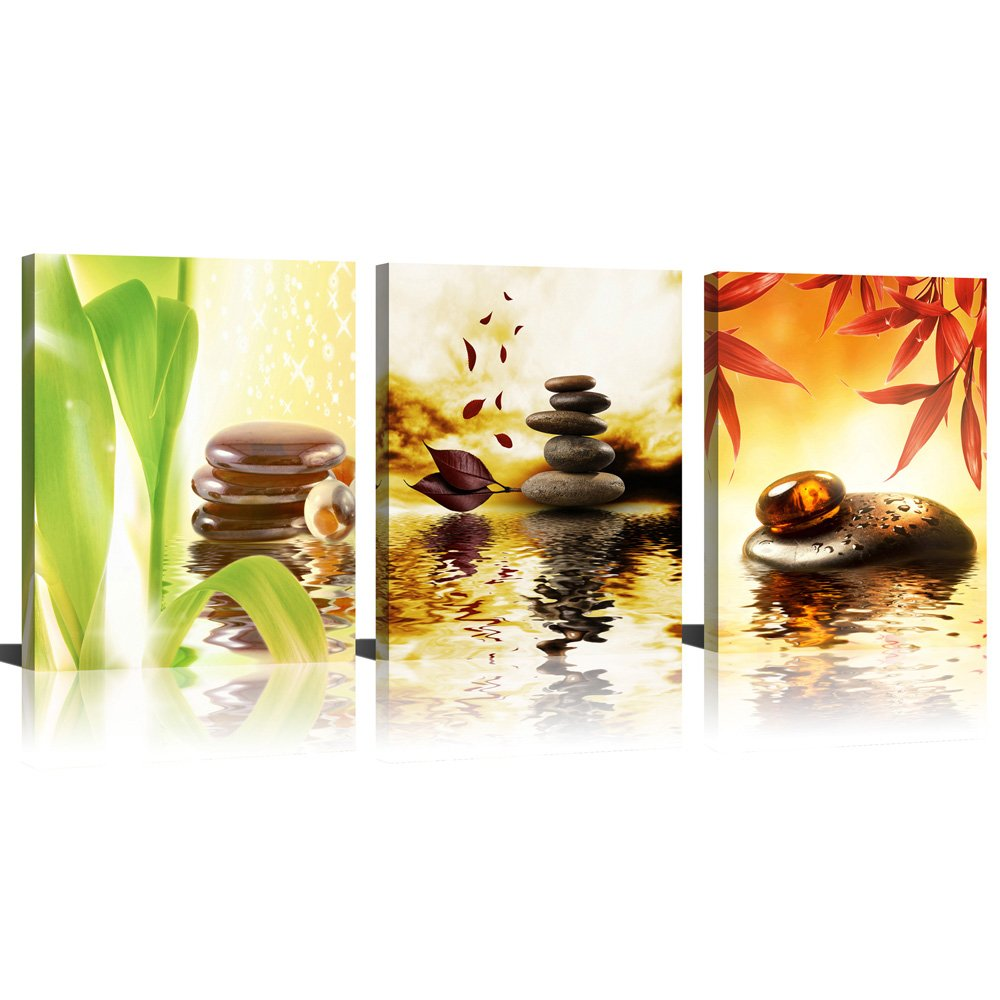 ModeArt Wall Art 3 Pieces Four Season Golden Spa Artworks with Zen Stone Red Green Leaf HD Photos Canvas Prints for Living Room Bathroom Decorations 12''x16''x3pcs