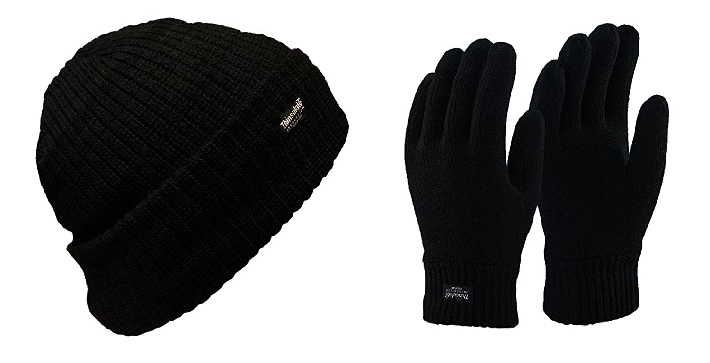 Da uomo invernale termico nero Thinsulate Cappello e guanti Set in 3misure THINHGLOS_0982