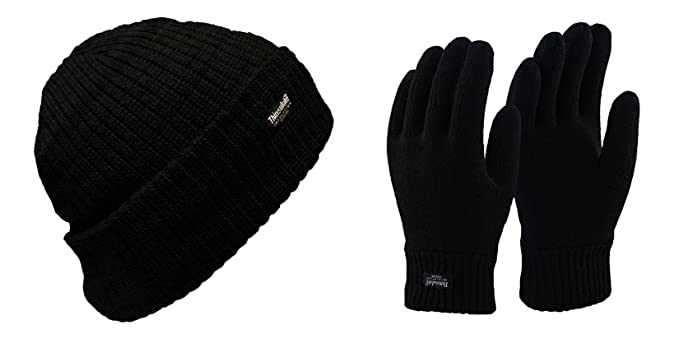Mens Winter Warm Thermal Black Thinsulate Hat and Gloves Set in 3 sizes   Amazon.co.uk  Clothing ec5866a0e7e2