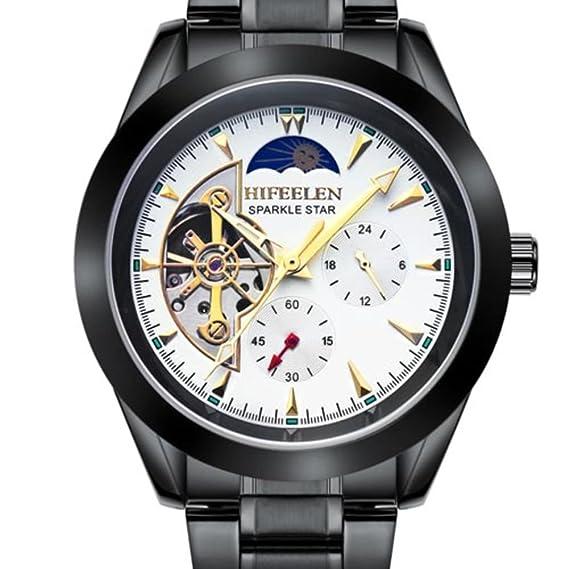 Relojes hombres/Automático cinturón hueco luminoso/Reloj de los deportes de los hombres-V: Amazon.es: Relojes