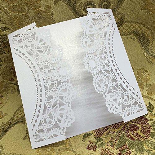 TSG GLOBAL 20 pcs White Laser Cut Wedding Celebration Birthday Party Invitation Card Delicate Envelope Carved Pattern 15.1 14.9cm -