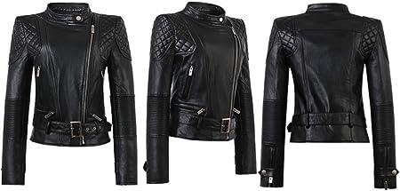 Mujer Elegante Chaqueta Cuero PU Manga Larga Moto Cazadoras Chaqueta de Motociclista Biker Abrigos Jacket