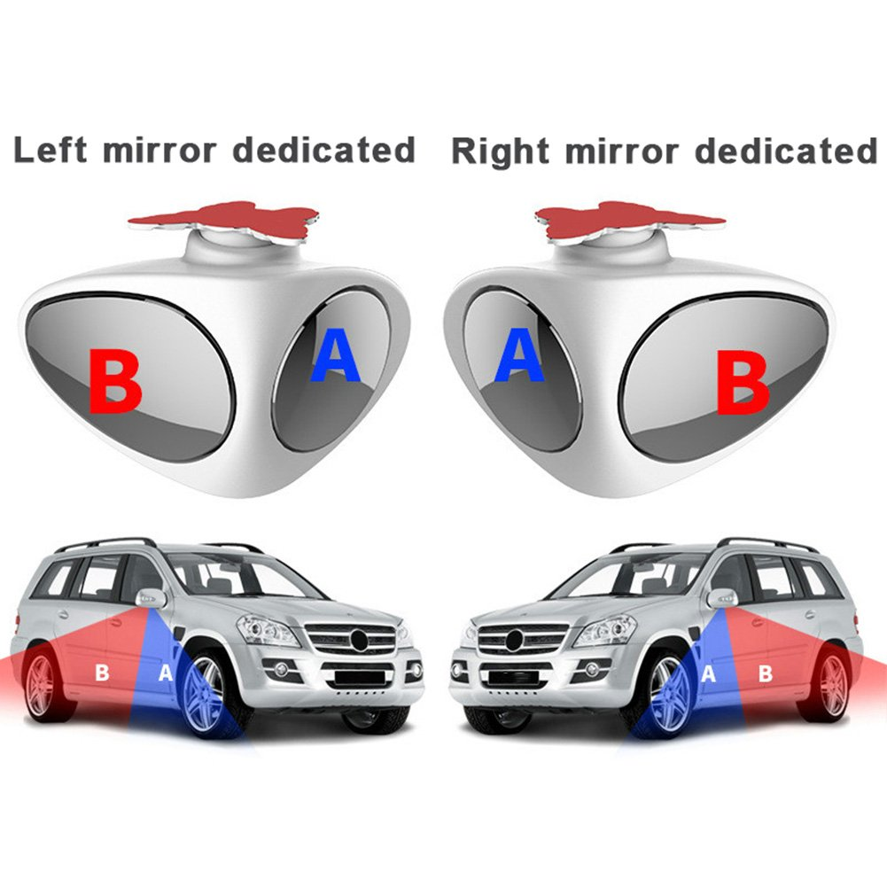 FANCYLEO 2 in 1 Car Blind Spot Mirror- 2 Pack 360 Degree Rotate Adjustable Stick-on Convex Rear View Mirror, View Front Wheel Car Coach Mirror For All Universal Vehicles Car Suv