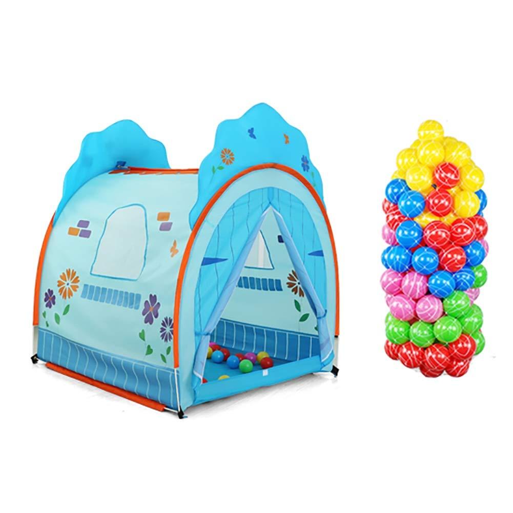 ベビーサークル 100のボール、ダブルドアカーテンのデザイン、早期学習を促進する屋内ポリエステル子供のプレイハウスのプレイテント (色 : 青)  青 B07KTZC27V