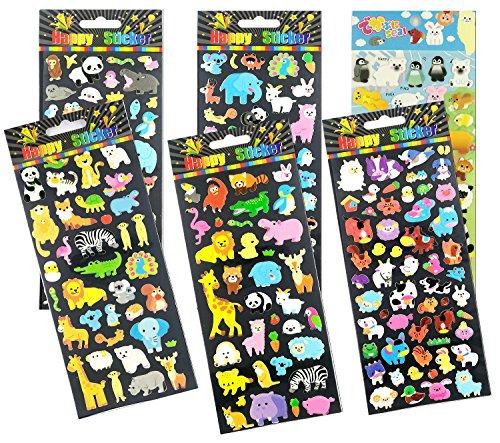 SET035-HAPPYZOO - 6 Sheets Mini Lovely Animal Reusable Puffy Stickers (Monkey, Panda, Rabbit, Elephant, Koala Bear, Lion, Penguin, Hippo etc.) Size 3.25 X 7.25 (Halloween College Stories)