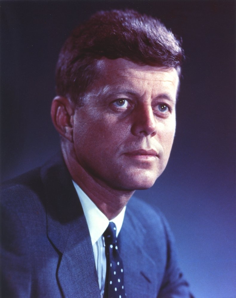 24 x 30 John Kennedy wearing a Blue Suit and a Polka Dot Necktie Photo Print