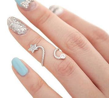 Elegante moderno Pentagram Estrella de mar Mariposa anillos de uñas para niñas Mujeres 2PCS color al azar: Amazon.es: Belleza