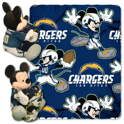 The Northwest Company Officially Licensed NFL Los Angeles Chargers Co Disney's Mickey Hugger and Fleece Throw Blanket Set