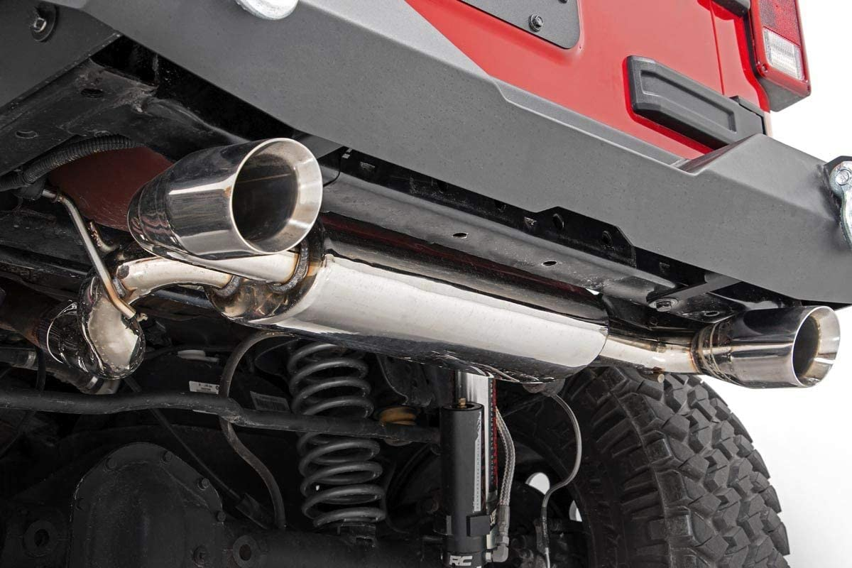 Rough Country Dual Performance Exhaust Stainless Compatible w// 2007-2018 Jeep Wrangler JK Polished Stainless Steel 96001