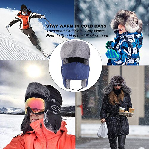 6123a948a35 Prooral Unisex Winter Trooper Trapper Hat Hunting Hat Ushanka Ear Flap Chin  Strap and Windproof Mask