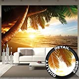 Sandy beach at sunset photo wallpaper – paradise with palm trees and the ocean mural – XXL beach wall decoration 132.3 Inch x 93.7 Inch