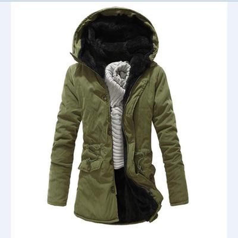 Winter Mens Parkas Coat Male Slim Fit Thick Fleece Parka Jacket Solid Color Long Hooded Outerwear