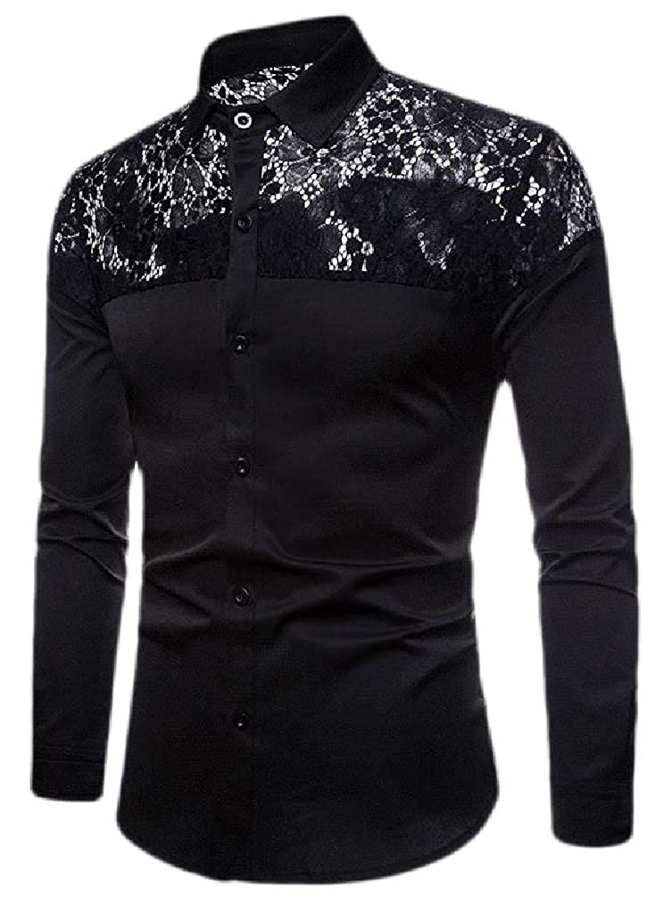 Lutratocro Mens Lace Hollow Out Slim Lapel Neck Curved Hem Button Down Shirts