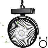 10000mAh Battery Operated Camping Fan with LED Lantern,Portable 8.6-Inch Rechargeable Tent Fan,70 Working Hours Max USB…