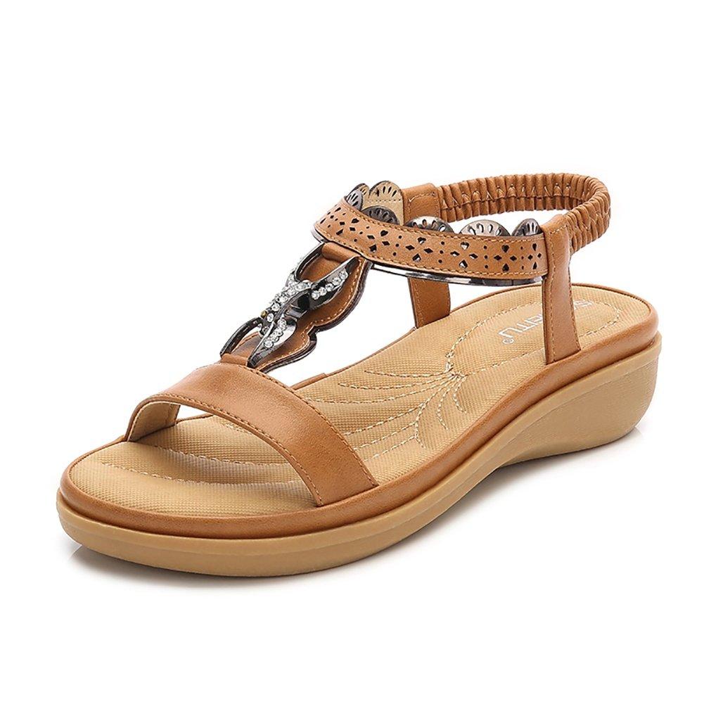 Meeshine Women T-Strap Rhinestone Beaded Gladiator Flat Sandals Summer Beach Sandal Yellow-08 US 8