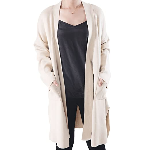 6219b19543eeab OYEAHGIRL Long Cardigan Sweaters for Women with Pockets Long Sleeve Tie  Open Front Outerwear Coat (