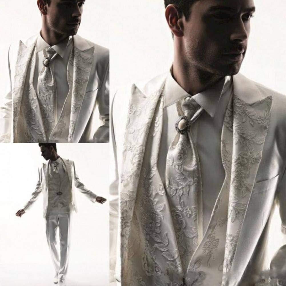 GFRBJK Apliques Hombres Esmoquin Traje de Negocios Vestido de ...