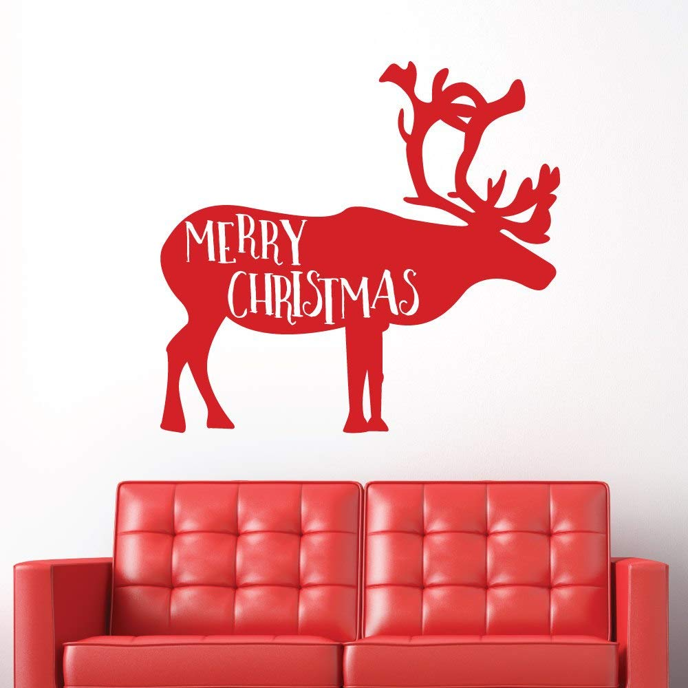 Home Decoration Decals Christmas Reindeer Art Wall Sticker Removable Merry Christmas Holiday Season Window Decor Mural 5753CM