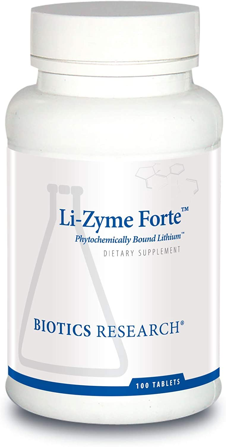 Biotics Research Li-Zyme Forte™– 150 mcg Plant-sourced, phytochemically-Bound Lithium. Supports Brain Function. Memory and Mood Support.100 Tablets