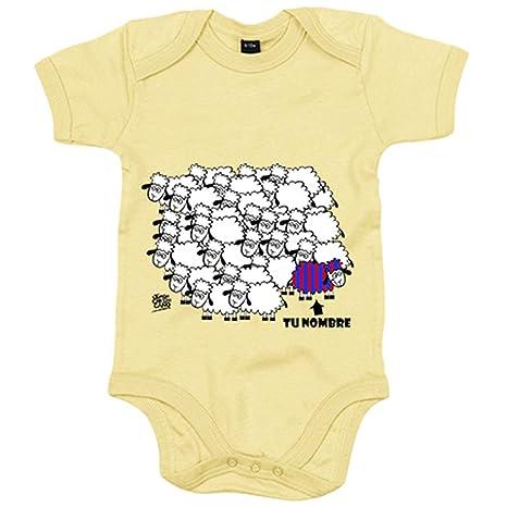 Body bebé Barcelona fútbol la borregada personalizable con nombre - Amarillo, 6-12 meses