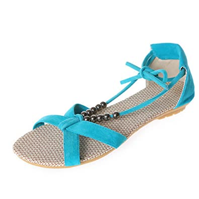67b6b50c2925fb Image Unavailable. Image not available for. Color  Hee grand Women Summer  Sandals Beaded Lace Up Low-Heeled Shoes Open Toe US 5.5