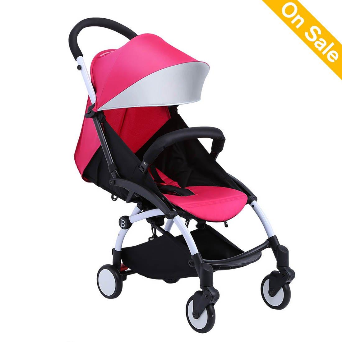 Baabyoo Ultra lightweight Baby Stroller Folding Infant Stroller Travel System Anti-Shock Umbrella Stroller 12.8lb Rainproof Toddler Carrier for Travel and Plane Rosyred