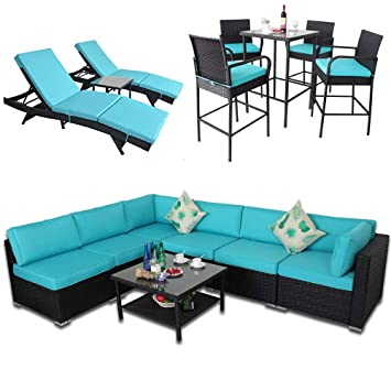 Outime Patio Garden Big Sectional Black Rattan Furniture Set | 7 Piece-B Sofa | 3 Piece Lounge Chaise | 5 Piece Bar Set(15 Piece, Turquoise)