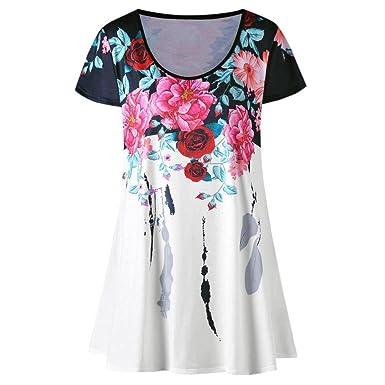 646261d946e Amazon.com  Wintialy Women Flowers Print Loose Crop Tank Tops Blouse ...