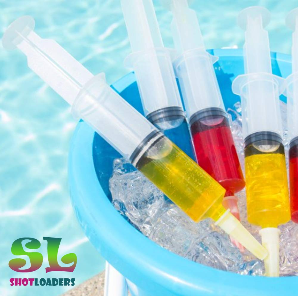 Jello Shot Syringes 50 pack - Jumbo! X-Large, 2 oz size, BPA free, washable and reusable Syringes for Jello Shots | Bonus Jello Shot Recipe eBook | Perfect for Large Jello Syringe Shots by Shot Loaders (Image #2)