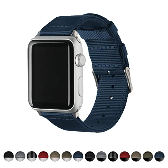 Archer Watch Straps | Premium Nylon Replacement Bands for Apple Watch (Navy, Stainless,