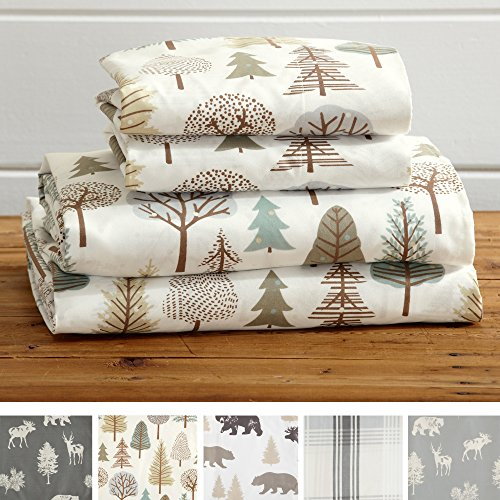 Great Bay Home 4-Piece Lodge Printed Ultra-Soft Microfiber Sheet Set. Beautiful Patterns Drawn from Nature, Comfortable, All-Season Bed Sheets. (Queen, Forest Trail)