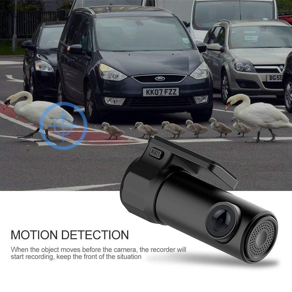 Wifi Mini Dash Cam 1080P 170 ° Granangular Lente De Conducción Grabador, Con G-Sensor, Detección De Movimiento, Grabación De Bucle, Fibra De Carbono ...