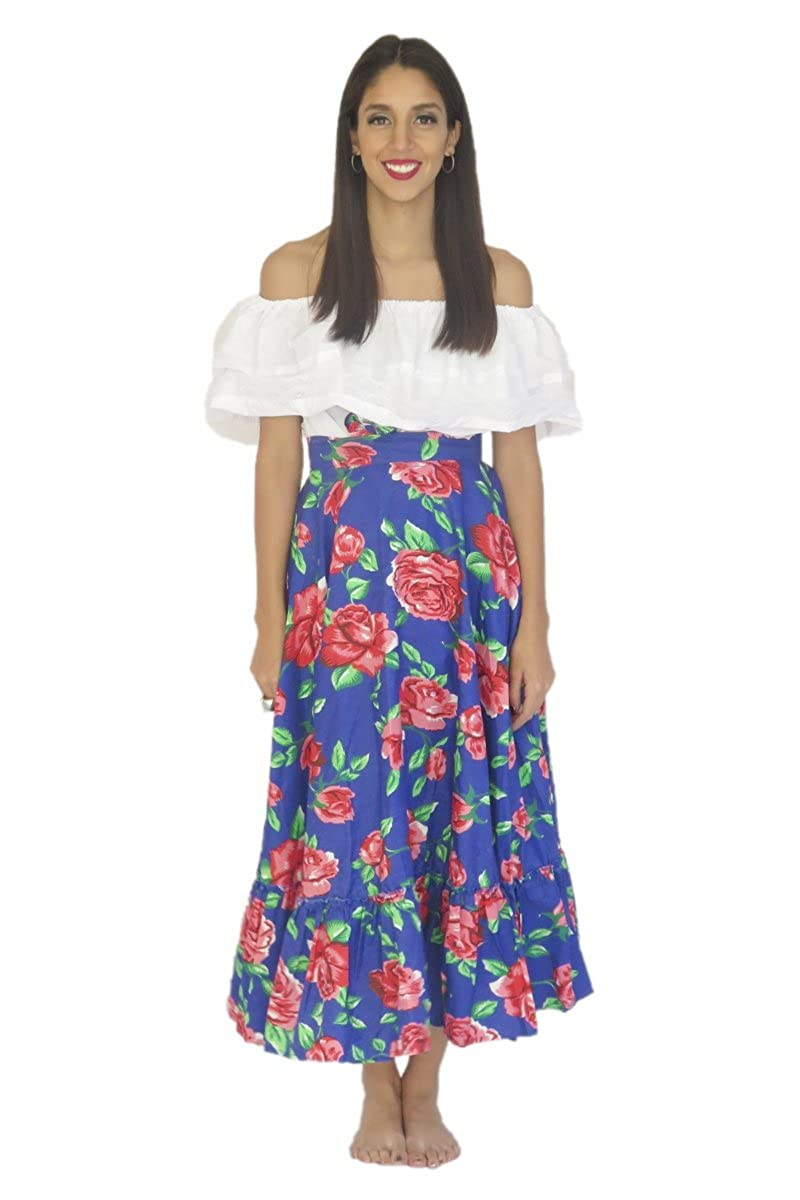 Women's Mexican Adelita Blue Floral Poplin Blouse and Skirt Set - DeluxeAdultCostumes.com