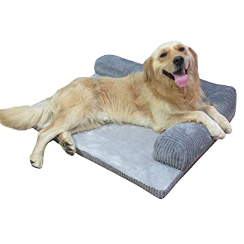 HenLooo Camas para Perros, Deluxe Large Gray Memory Foam Sofá Cama para Cama 43.3