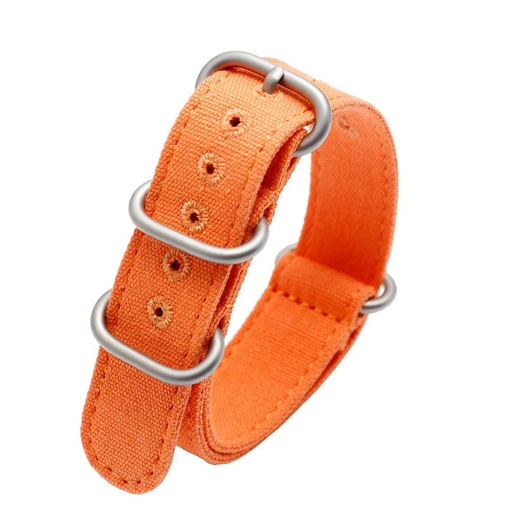 22mm Rugged Orange Stitched Canvas Watch Strap for Men and Women NATO Straps Cotton Canvas Watch Bands
