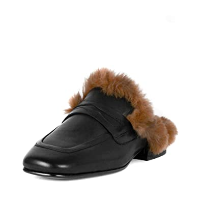 2ee4fb49c4d Ash Emotion Slip On Loafers Black Leather   Faux Fur 39 Black ...