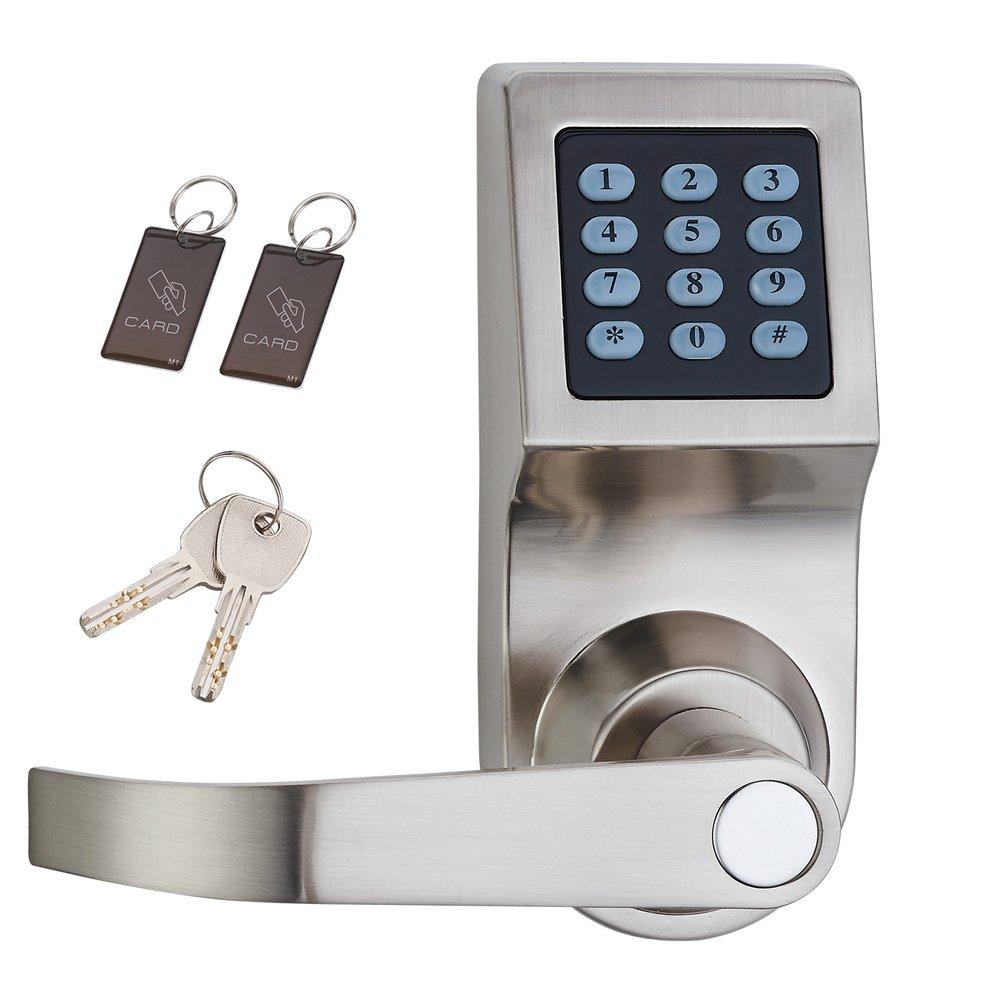 HAIFUAN Digital Door Lock,Unlock with M1 Card, Code and Key,Default for Left Hand Orientation